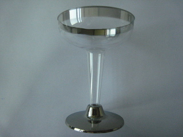 Martini cup with silver rim and bottom